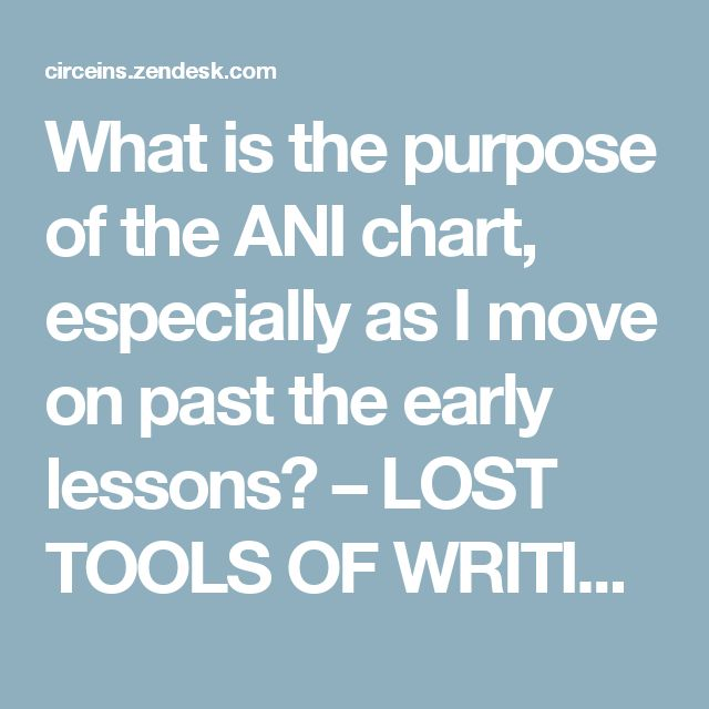 What is the purpose of the ANI chart, especially as I move on past the early lessons? – LOST TOOLS OF WRITING SUPPORT CENTER