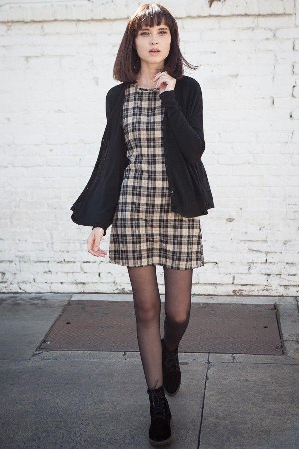 checkered mini dress, black coat, lovely checks shift dress similar to…