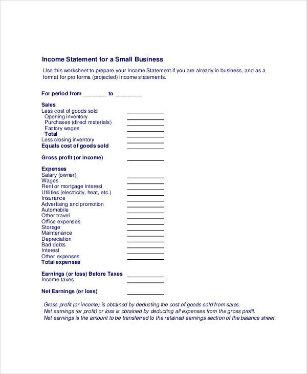 Small Business Financial Statement Template Awesome In E Statement Free Pdf Excel Word Documen Statement Template Income Statement Personal Financial Statement