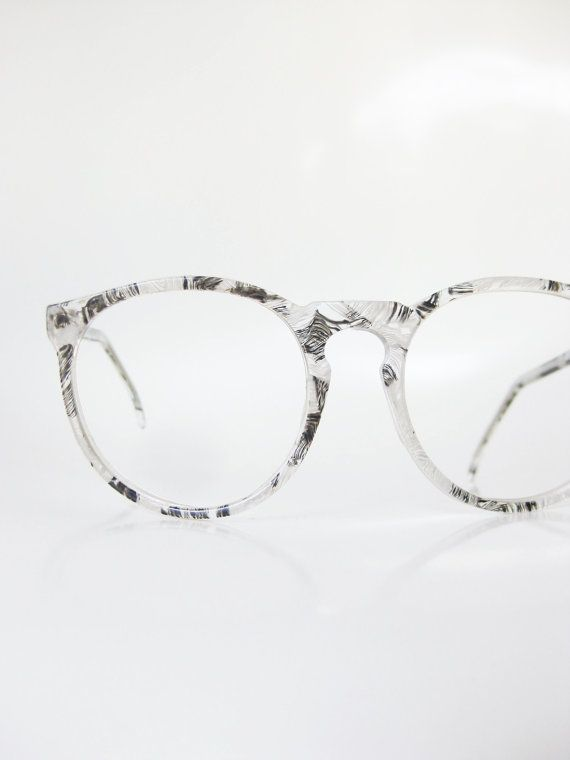 Vintage Jean Lafont Eyeglasses Womens Feather Screenprinted 1960s Round Keyhole Bridge White Black Angel 60s France French Designer NOS