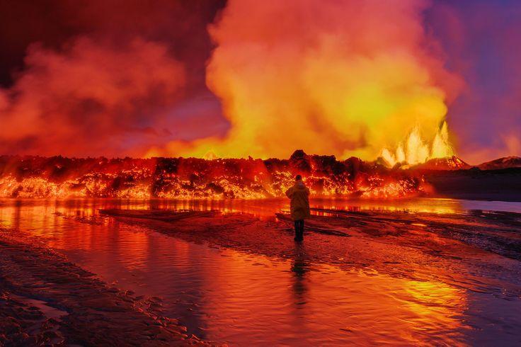 Holuhraun volcanic eruption in Iceland, near Bardarbunga Volcano. Picture is taken September 2nd 2014 #icelandtravel