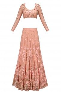 Pink Thread and Sequins Floral Work Lehenga Set