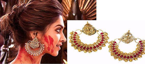 Diwali Special Chandelier Large Ramleela Bollywood Movie Inspired Red Chand Bali Earrings, deepika, Jhumka, Gold, temple earrings
