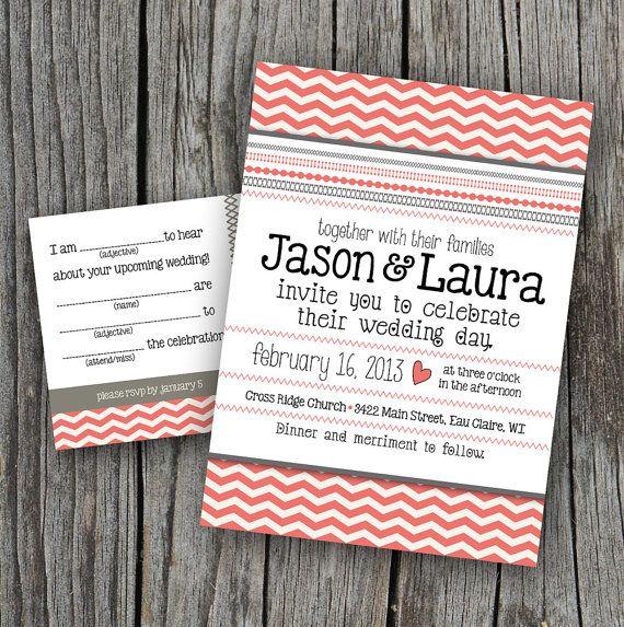 DIY Printable - Wedding Invitation Set with RSVP Chevron Stitches