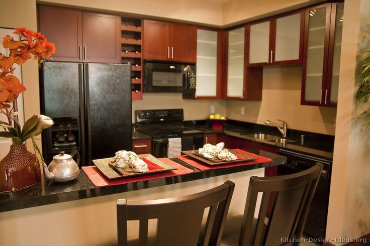 #Kitchen Idea of the Day: Asian-inspired kitchen design with black appliances.
