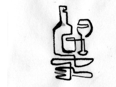 single line drawing of awesomeness - eat & drink