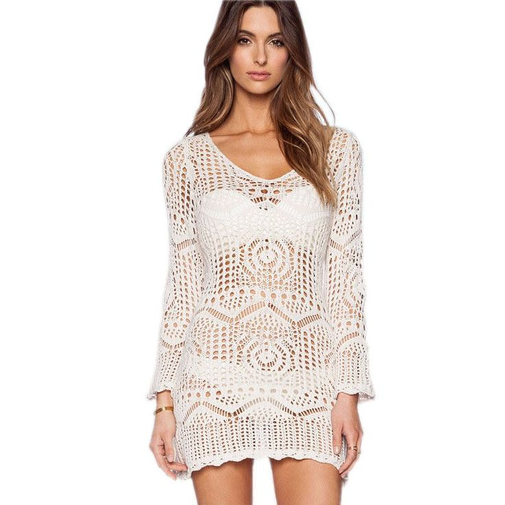 Only $34.29 - Awesome with belt 2016 Beach White Crochet Saida De Praia plus size swimwear cover ups Patchwork Embroidery Sexy bathing suit cover ups - Buy it Now!