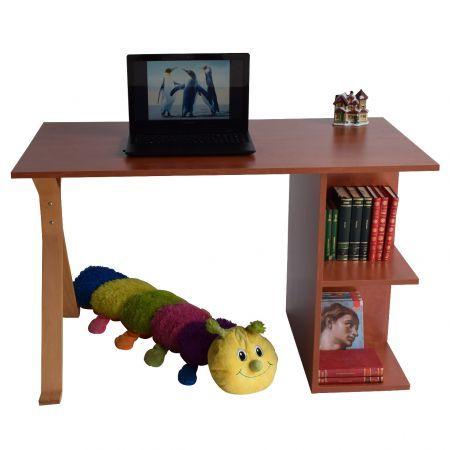 Birou de lucru cu rafturi, din pal melaminat, potrivit atat pentru utilizarea in casa cat si la birou. Mobilier simplu cu design inteligent ofera spatiul necesar pentru depozitarea cartilor, bibliorafturi, mape, etc. Blatul cu dimensiuni generoase ofera un spatiu de lucru confortabil. Dimensiuni: lungime 120 cm, latime 65 cm, inaltime 75 cm Culoare:cires, picior bambus