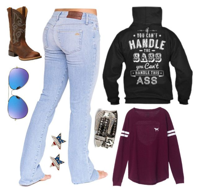 """Bored :P"" by im-a-jeans-and-boots-kinda-girl on Polyvore featuring Bullet, Victoria's Secret and Ariat"