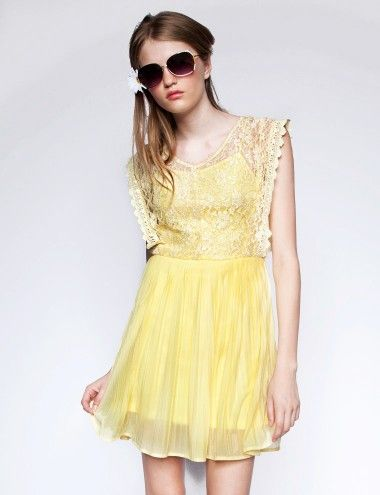 Pale yellow lace dress