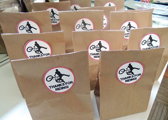 Bike themed birthday favor bags BMX