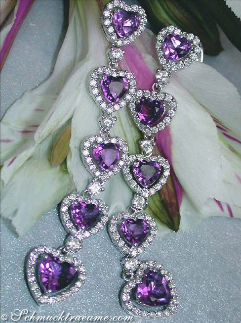 Magnificent: Amethyst Diamond Heart Earrings,: