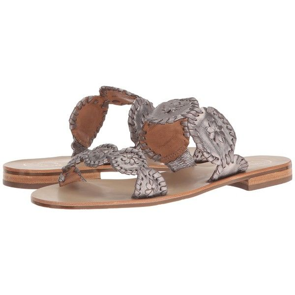 Jack Rogers Lauren (Pewter) Women's Slide Shoes ($128) ❤ liked on Polyvore featuring shoes, sandals, slip on shoes, slip on sandals, slip-on shoes, pewter sandals and pewter shoes