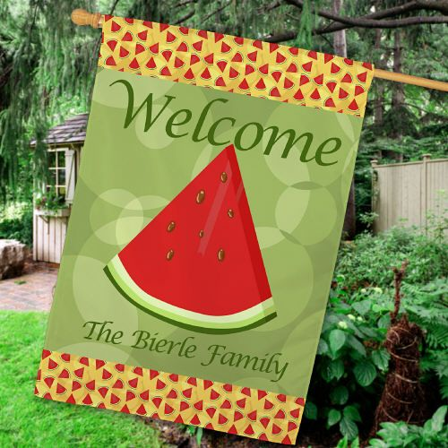 personalized watermelon summer house flags celebrate summer with this personalized watermelon decorative house flag - Decorative House Flags