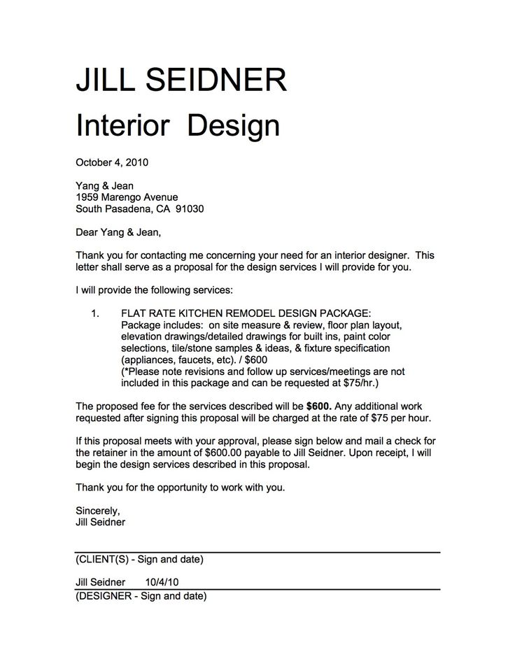 Service Proposal Letter Interior Design Proposal Sample Fee