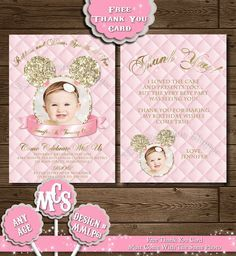 MINNIE MOUSE INVITATION, Minnie Invitation, Minnie Mouse, Printable Invitation, Gold and Pink Invitation, Free Thank You Card, Pink Invite by MyCelebrationShoppe on Etsy https://www.etsy.com/listing/203108208/minnie-mouse-invitation-minnie
