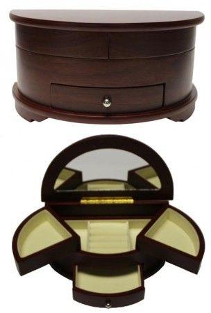 Ékszertartó doboz, ékszerdoboz félkör alakú