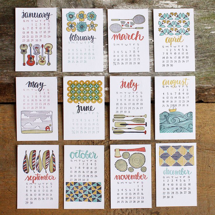 2013 Letterpress Calendar. $26.00, by 1canoe2, via Etsy.  All original illustrations hand drawn by us and lovingly letterpressed one color at a time by hand