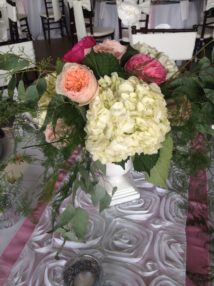 CHAMPAGNE - fresh floral arrangement of hydrangea, garden roses,and greenery