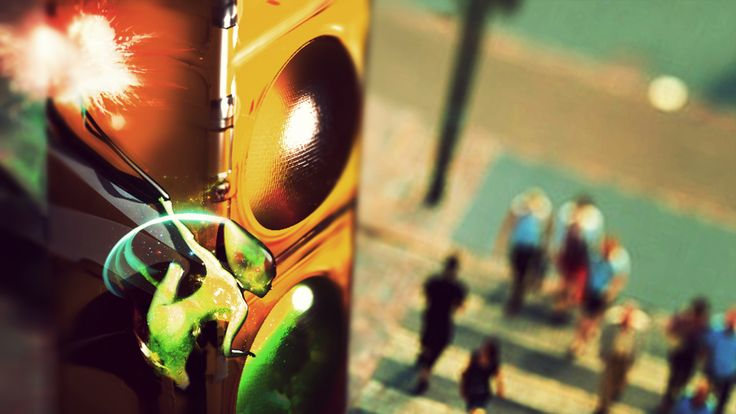 The Green #Fairy hiding behind the traffic lights #ConceptArt