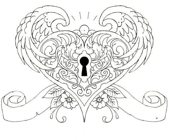 Wings Heart Keyhole Tattoos Pinterest Locks Wings
