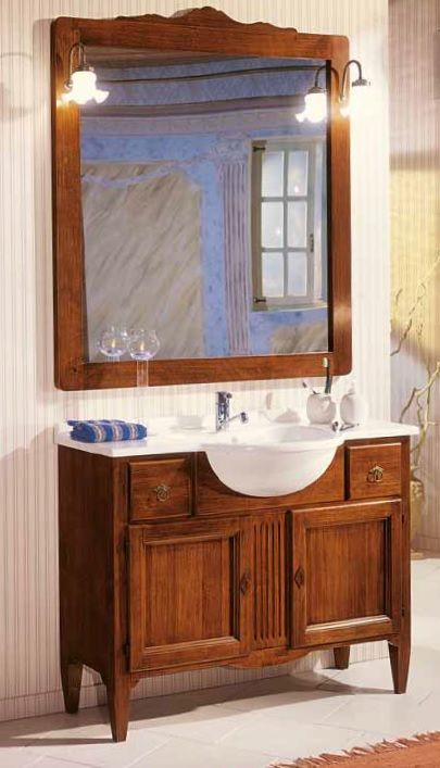 Mobile bagno in legno compreso lavabo colore noce scuro - Mobile bagno arte povera mondo convenienza ...