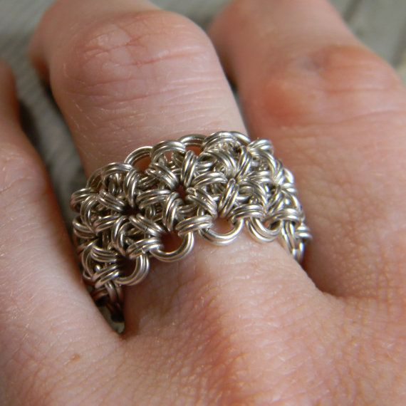 Japanese 12-2 #Chainmaille #Ring Sterling Silver Finger Armor Size 6 Ready to Ship