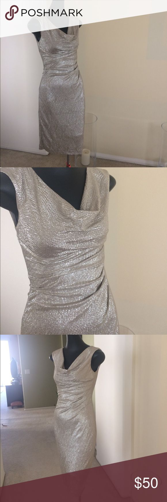 Lauren By Ralph Lauren dress Beautiful metallic gold dress. Draped front. Perfect for the holidays. Lauren Ralph Lauren Dresses Midi