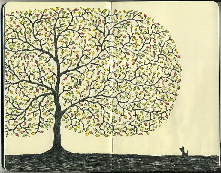 journal page #tree by Mattias Adolfsson, freelance illustrator