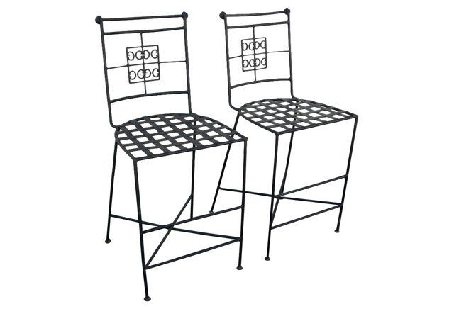 Midcentury  Iron Counterstools, Pair