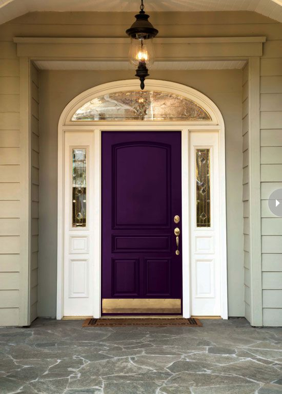 dark gray exterior with Blue Front Door | exterior-frontdoor-darkpurple.jpg