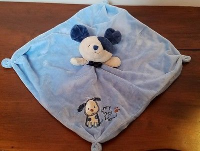 Carters Blue MY BEST FRIEND Puppy Dog Security Blanket RATTLE Lovey Little Boys