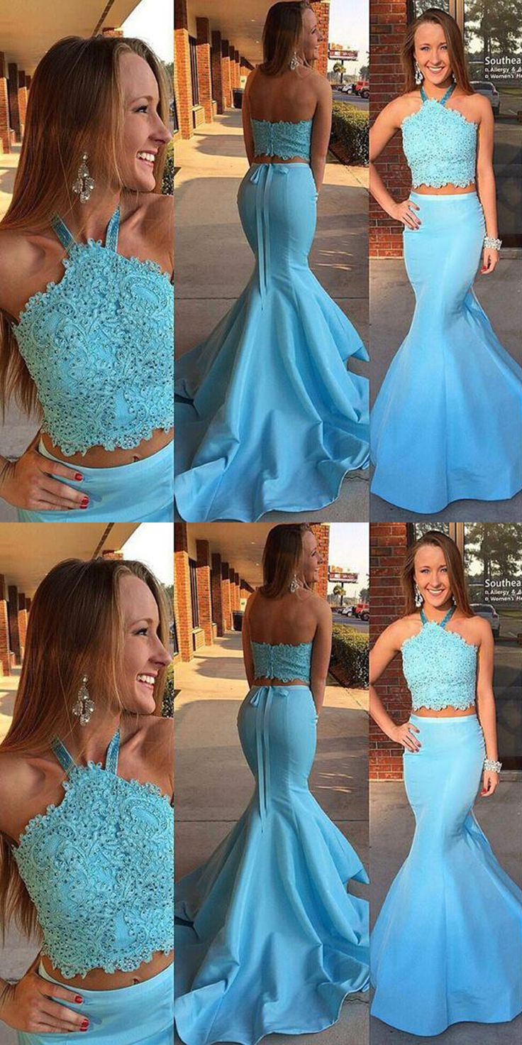 Two Piece Mermaid Halter Light Blue Beaded Prom Dress With Sash Lace