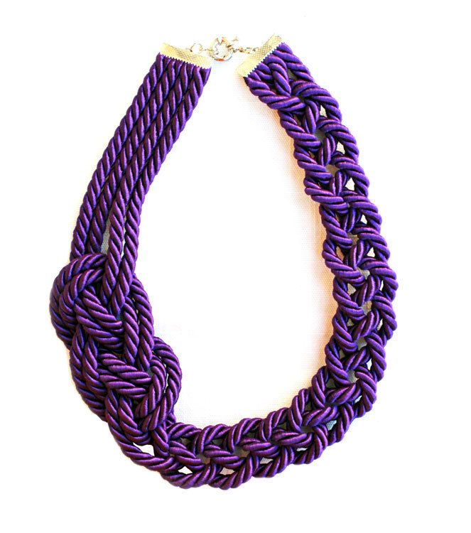 Rope Violet  Necklace - Rope knot nautical necklace - by Nokike. €20.00, via Etsy.