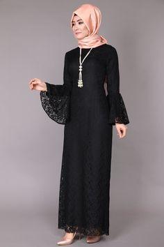 BRB4201 Siyah Volan Kol Dantel Elbise BRB4201 Ekru