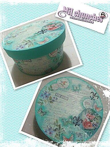 cajas decoradas con decoupage y técnica de apliques y stencil.