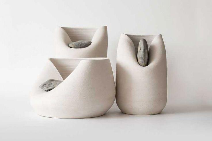 martín azúa warps ceramic vases with raw stones