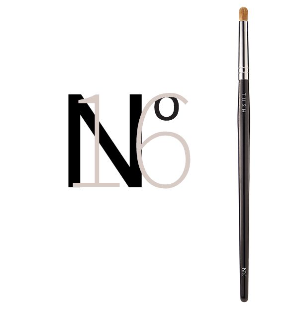 Nr 16 Rounded Eye Contour Brush. A luxurious round eye shadow brush made of natural bristles. It's round shape is ideal for blending in color, emphasizing or tracing the contour of the eye and to create soft definition in the eye crease for a glamorous dramatic look. Available at www.tushbrushes.com