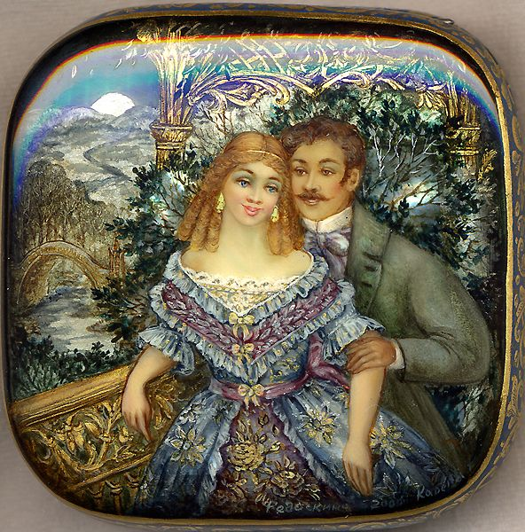 "Fedoskino. Russian Lacquer Art Titled ""Loving Couple"" Artist Galina Kaareva"