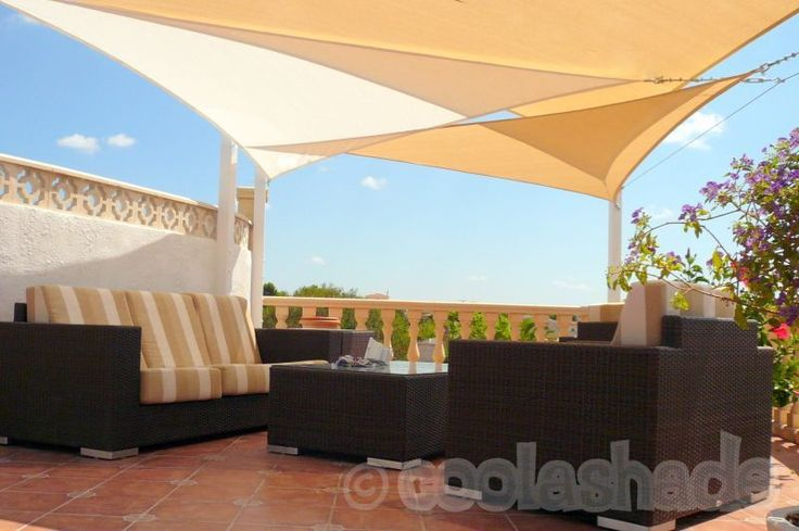 Triangle Shade Sails x 3, 3.6m Triangles x 2 and 5.0m Triangle x 1, colours Desert Sand and Polar White