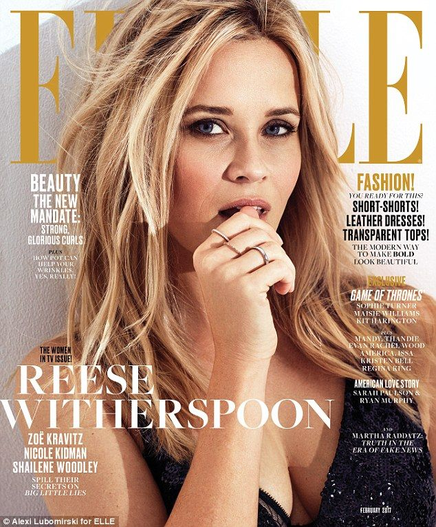 Keeping it real: Reese Witherspoon smoldered on the cover of Elle magazine's February issue, where she talked about her new mini series Big Little Lies