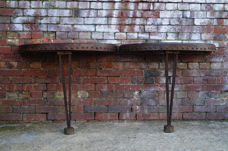 Pair of Metal French Console Tables with a Glass Top