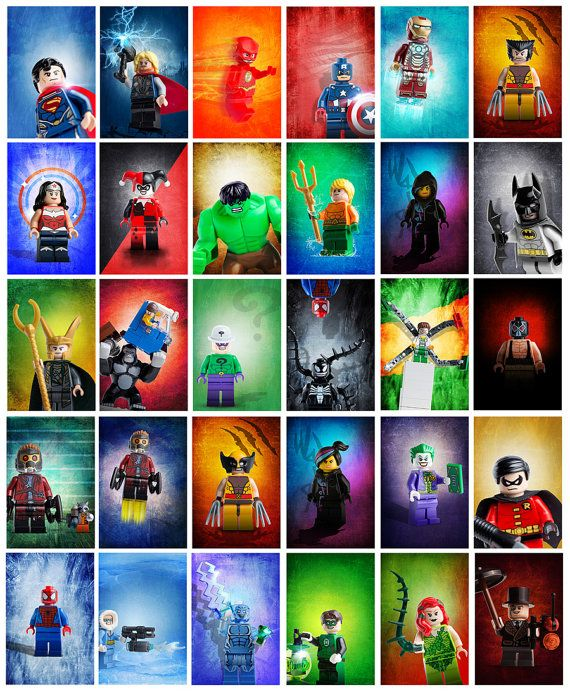 This listing is for ALL 30 Lego Super Heroes posters - 30 individual digital files for $45 total. $240 if you bought them individually.  They Are: Aquaman Bane Batman Capt Cold Capt America Doc Ock Electro Green Lantern Gorilla Grodd Harley Hulk Iron Man Ivy Joker Loki Penguin Riddler Robin Spiderman Starlord Flying Starlord and Rocket Racoon Superman The Flash Thor Venom Woverine Wolverine with Mask Wonder Woman Wyldstyle with Ponytail Wyldstyle with Hood Up   They…