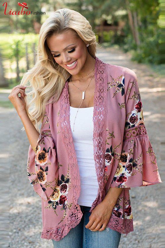 c40faae224 Plus Size Womens Boho Long Sleeve Lace Kimono Cardigan Ladies Summer Tops  Blouse