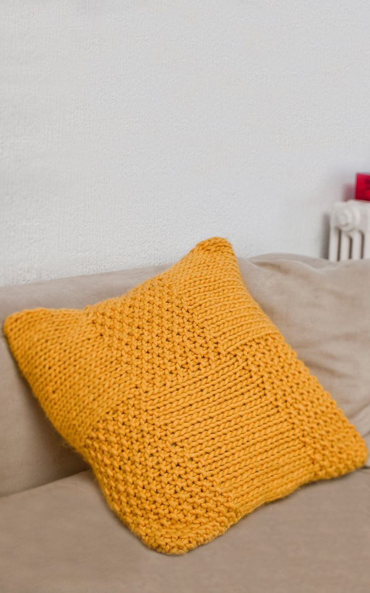 Hand Knitted Wool Cushion | DIY Home Deco Knitting Kit - Arlequin Cushion by We Are Knitters