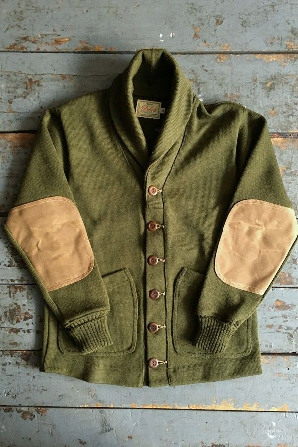 Dehen 1920 Shawl Sweater Coat Olive Knit Wool