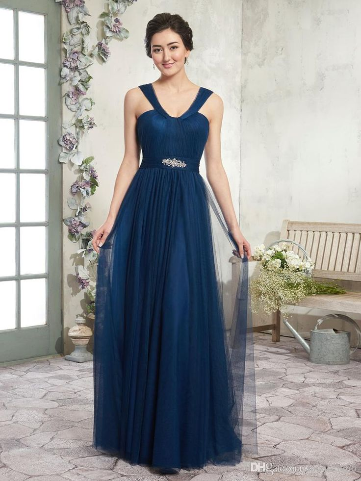 Dark Navy Bridesmaid Dresses Long Tulle Wedding Party Dresses front And Back V-straps, Ruched Bodice, Pleated Natural Waist Line with Peplum Bridesmaid Dresses Bridesmaid Dress Wedding Guest Dress Online with $109.0/Piece on Lpdqlstudio's Store | DHgate.com