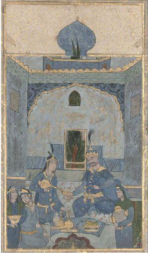 BAHRAM GUR IN THE BLUE PAVILION, SAFAVID ISFAHAN SCHOOL, CIRCA 1630