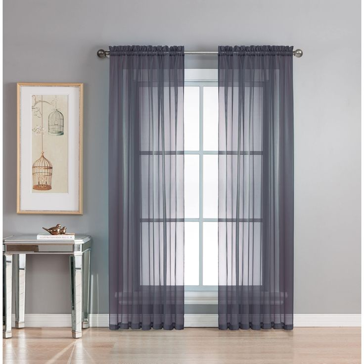 Window Elements Diamond Sheer Voile 56 x 95 in. Rod Pocket Curtain Panel - 56 x 95 (Indigo), Blue (Polyester, Solid)