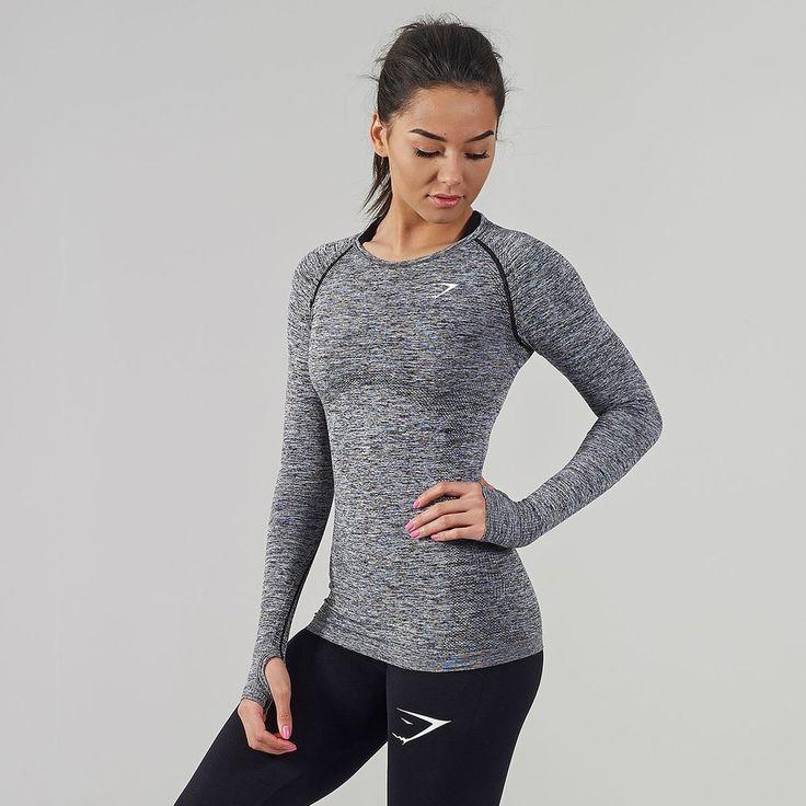 Gymshark Seamless Long Sleeve T-Shirt - Charcoal at Gymshark US | Be a visionary.